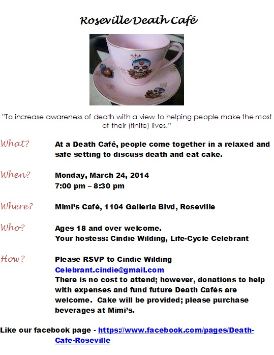 Roseville Death Cafe flyer